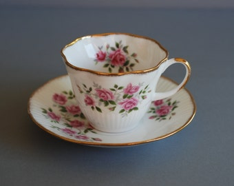 Royal Minster English Bone China Tea cup and Saucer  Floral Pink Roses Vintage English Bone China Collectible Cup of Tea England