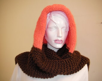 Warm and Cozy. Handknit Orange Brown Hood . Interesting Snood. Light Weight  Scarf and Hat .