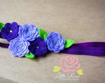Wool Felt Roses Headband