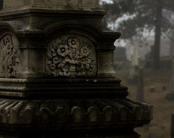 Grave Flowers in Fog