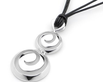Sterling Silver round barell swirl, surf pendant necklace