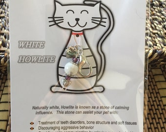 WHITE HOWLITE Healing Crystal Pet Charm, Healing Pet Charm, Crystals for Pets, Cat collar