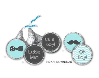 its a boy Hershey Kiss Label - Candy Sticker Label - Baby shower kiss Sticker Label - little man candy Sticker - PDF -INSTANT DOWNLOAD