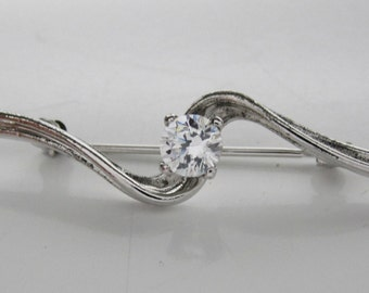 Sterling Silver 925 Cubic Zirconia Brooch