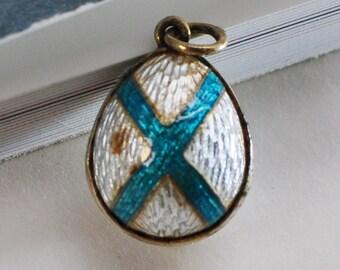 Antique Russian Silver Egg Miniature Pendant, Silver Guilloche Enamel