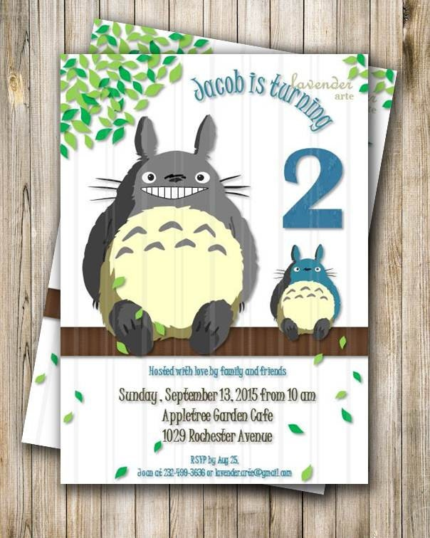 Totoro Thank You Card Totoro Children Birthday Thank You Card Blue