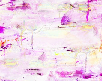 Abstract Painting Print Pink Purple Yellow Extra Large, Abstract Painting Canvas Wall Art Print, Abstract Art Pastel, Girls Room