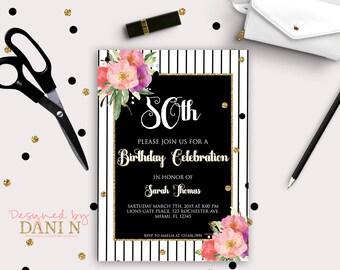 Adult Birthday Invitation, 50th invite Gold glitter, 30th Birthday invite, 40 Birthday party, 30 Birthday Invitation, Printable DIY