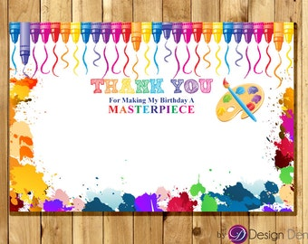 Art Party Birthday Thank you card. Printable Digital. Paint, Crayon, Artist #TK1005