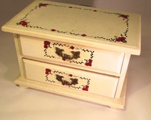 Vintage Wooden Jewelry Box Ivory Colored Small With Red and Black Accents