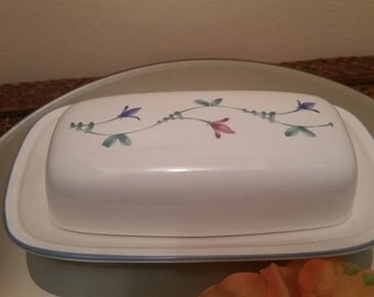 Butter Dish - Ceramic Butter Dish - Floral Butter Dish - Butter Tray - Vintage Butter dish Made in Japan
