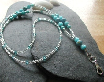 Sky Blue Glass Beads ID Lanyard Badge Holder Necklace
