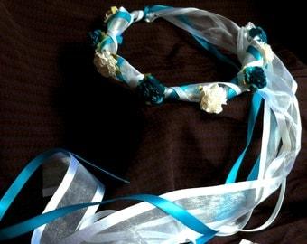 Flower Head Wreath - Bridal Bridesmaid Communion Floral Ribbon Crown Halo Head Piece Wreath Garland Blue Turquoise White C-Carrie