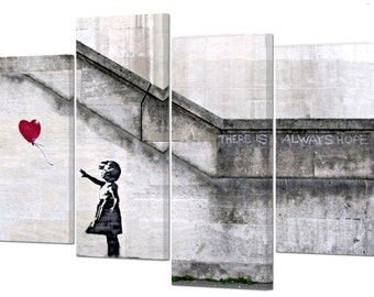 "Banksy/Girl with balloon /There is always hope/set of 4 frames/ 32""x 20"""