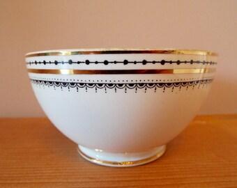 Vintage Sugar Bowl, Royal Albert Black and White Sugar Bowl with Gold Trim