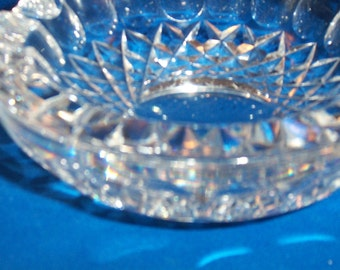 Vintage Heavy Crystal Thumbprint and Diamond Basket ashtray clear crystal glass