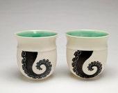 SET of two, nautical tumblers, octopus tentacle, ceramic tumblers, porcelain cups, sgraffito black & white, seafoam green, by Anja Bartels