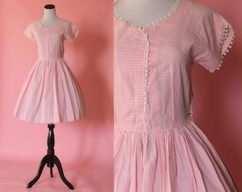 1950s pink gingham sundress/ 50s checkered daydress/ plaid cotton dress/ medium • free US shipping