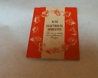 Vintage K-M Electric Servants Recipe guide  Cookbook