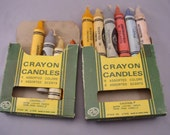 Vintage Jumbo Crayon Candles in 6 assorted scents, in two 1950s Crayola-like boxes with 10 candles.