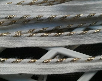 2 Yards White and Gold Lace Trim Piping 1/2 Inch Wide