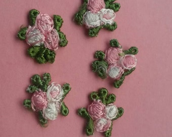 5 Pieces small PINK flower applique sew on flower patch