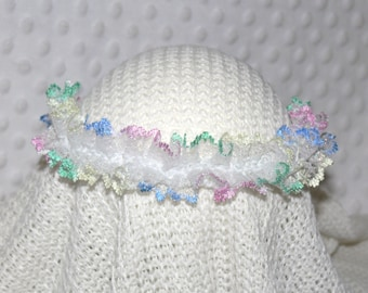Newborn Baby to Adult Knitted Opalescent Rainbow Lace Tieback