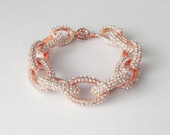 Classic pave link bracelet rose gold 4 rows glsaa small bracelet crystal bracelet