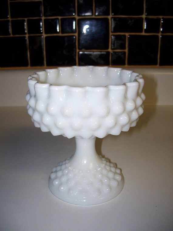 White Milk Glass Candy Dish Fenton Hobnail