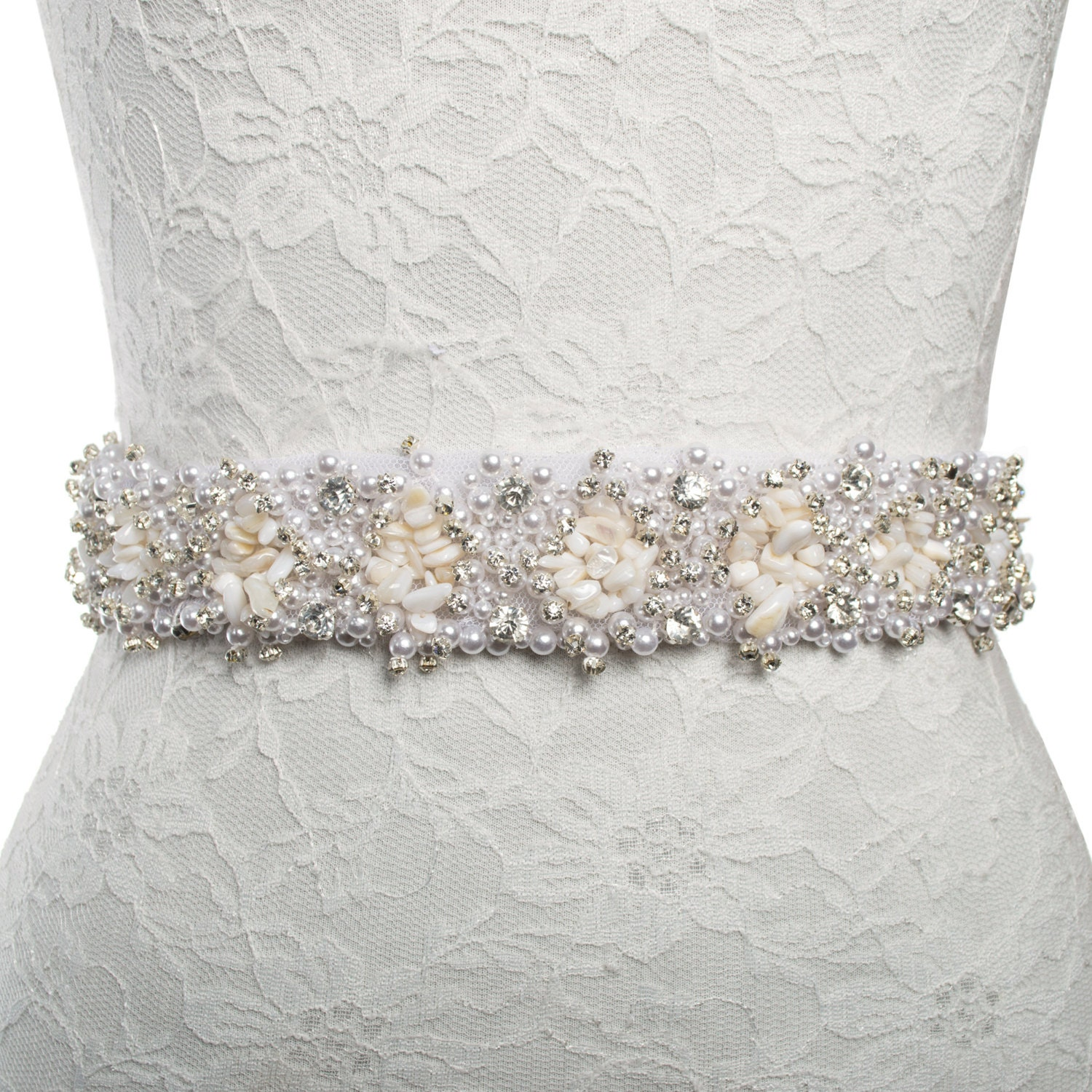 Wedding Dress Accessories Belt : Beach wedding dress accessories sash belt shell by samiteredowa