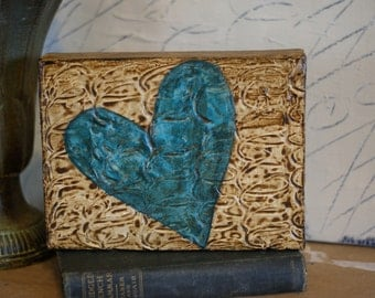 Turquoise Heart  - Original Mixed Media Art Canvas - Distressed - Brown Textured Background - 6X8