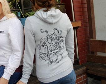 Tri-Silver Geometric Octopus American Apparel Hoodie