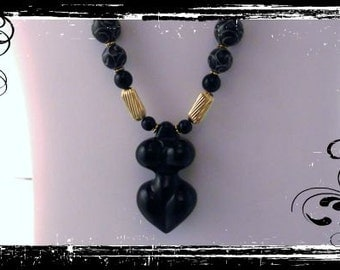 Black Onyx Goddess Venus Female Torso Pendant necklace