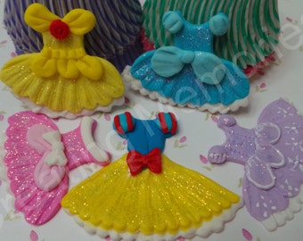 EDIBLE PRINCESS DRESSES - 12  Fondant princess dress cupcake toppers. Every little girl will love to have her princes toppers