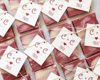 Custom Soap Favors - (100) Handmade Soap, Vegan Wedding Favors,  Party favors. Gift ideas. Cadeaux d'invités sur mesure.