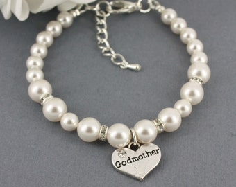 Godmother Bracelet, Swarovski Pearl Bracelet for Godmother, Pearl Jewelry, Godmother Gift, Swarovski Bracelet, Available in White/Cream