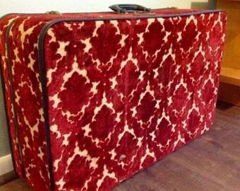 Vintage Stylite Luggage Suitcase Red Burnout Velvet Black Accents