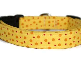 Yellow and Red Polka Dot Dog Collar
