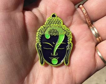 Glow in the Dark Bright Green Buddha Quality lapel Pin