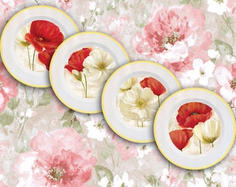 Poppies decor, poppies plates set, poppies wall decor, poppies kitchen decor, poppies vintage, poppy wall art, red color decor, poppy decor