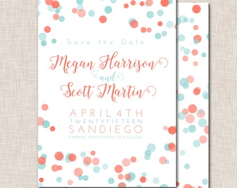Save the Date Invitation, coral save the date invite, teal save the date invitation, coral and teal dot invitation (061c)