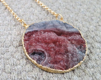 Druzy necklace on gold filled chain