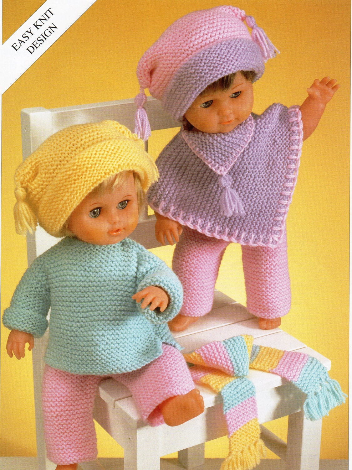 Knitting Pattern For Dolls Poncho : Baby Dolls Knitting Pattern Baby Dolls Set trouser suit poncho