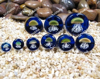 "Pyrex Glass Jellyfish Plugs Cobalt Blue Background 0g 00g 7/16"" 1/2"" 9/16"" 5/8"" 3/4"" 1""  8 mm 10 mm 12 mm 14 mm 16 mm 18 mm 20 mm  25 mm"