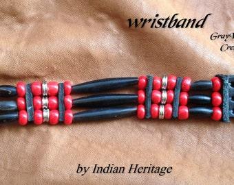 Indian bracelet black horn  3 rows  ref: B 60