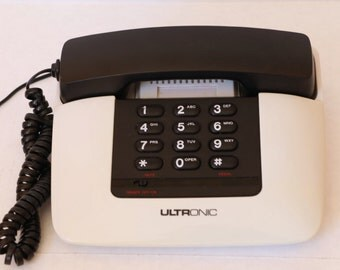 Ultronic 1980's Mod Telephone Black and White Push Button Phone