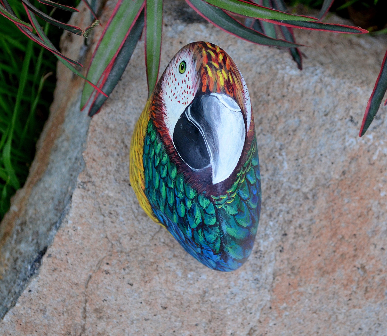 Parrot Rock Painting Bird Art 3D Sculpture Hand Painted