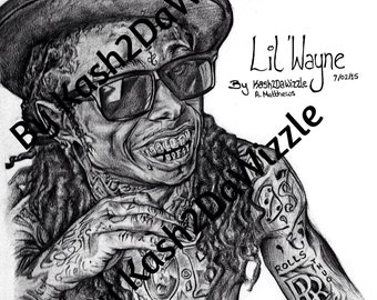 Lil' Wayne #portrait in Black and White #hiphop #art #lilwayne #blackart #music #rapper