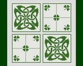 Celtic Knot and Clovers Counted Cross Stitch Pattern in PDF for Instant Download