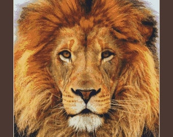 Handsome Male Lion Counted Cross Stitch Pattern in PDF for Instant Download